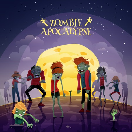 cartoon halloween: Zombie moonlight apocalypse cartoon background with moon sky and stars vector illustration