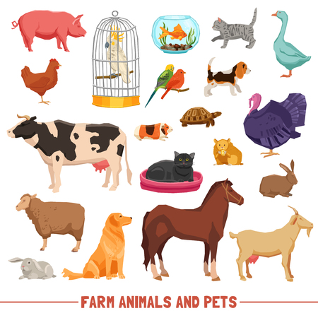 rabbit cage: Big and small farm animals birds and home pets on white background flat isolated vector illustration