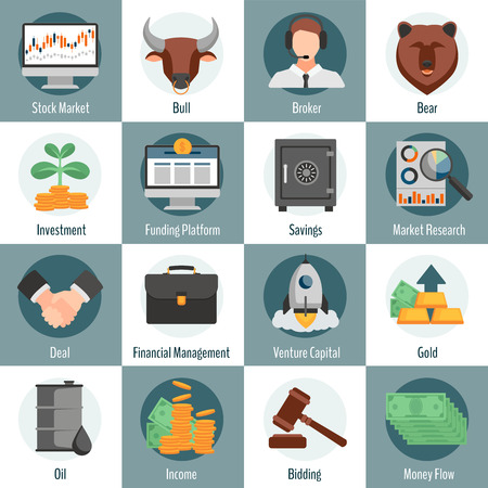 bidding: Investment and trading flat icons set for web design with bull bear broker gold oil bidding symbols isolated vector illustration Illustration