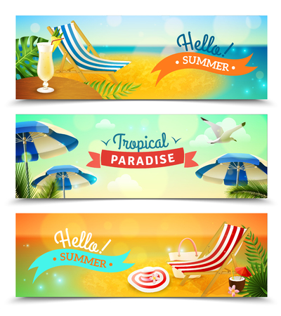 deck chair isolated: Tropical beach resort horizontal banners set with deck chair and cocktail cartoon isolated vector illustration Illustration