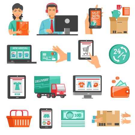 Los iconos de comercio electrónico Definir. Ilustración vectorial en línea de compras. El comercio electrónico Símbolos plana. Compras por Internet Diseño Set.E de comercio establece aislado. Ilustración de vector