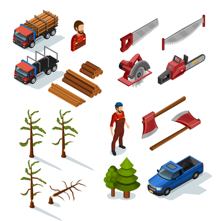 repairman: Lumberjack isometric color icons set of woodworking tools lumber trucks woodcutters in uniform  on white background flat isolated vector illustration