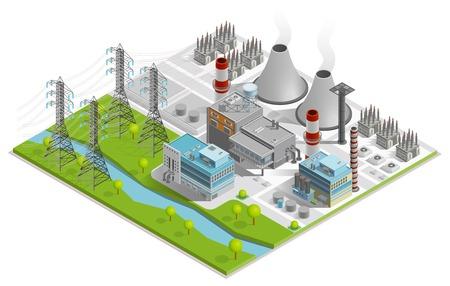Vector illustratie van de thermische centrale voor de productie van elektrische energie met schoorstenen industriële gebouwen en macht lijn ondersteunt isometrische begrip
