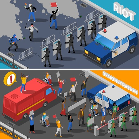 riot: Civil unrest street riots with molotov cocktail and peaceful demonstration 2 isometric banners abstract isolated vector illustration