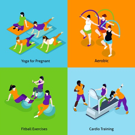fitness woman: Pregnant Woman Fitness Concept. Pregnant Woman Fitness Vector Illustration. Pregnancy And Fitness Isometric Icons Set. Pregnant Woman Fitness Design Set. Pregnant Woman Fitness Isolated Elements.