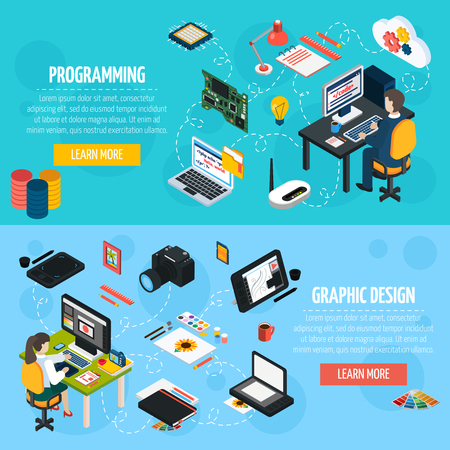debugging: Programming and graphic design banners set with programmer and designer at workplace isometric compositions and  collection of tools and equipment for professional work flat vector illustration.