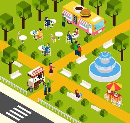 water park: Street food truck in water park selling visitors donuts and coffee isometric composition poster abstract vector illustration