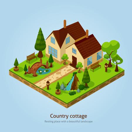 Isometrisch land landschap design concept met verschillende decoratieve elementen vector illustratie