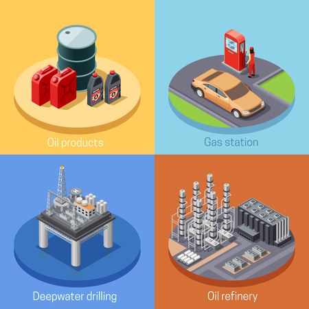 gas refinery: Oil industry isometric 4 icons square poster with refinery plant and gas station abstract isolated vector illustration