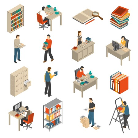 librarian: Historical documents manuscripts and publications storage library archive catalog helves isometric icons set abstract isolated vector illustration