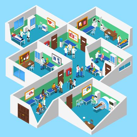 Hospital de planta baja de diseño isométrica entre los pacientes con instalaciones de resonancia magnética enfermeras y asistentes médicos Resumen ilustración vectorial