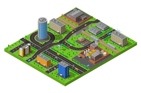 residential district: Industrial and residential city district elements isometric composition poster with streets and production facilities abstract vector illustration