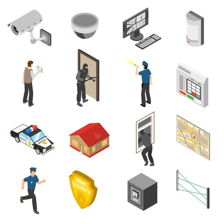 car security: Home security system service isometric elements collection with surveillance camera and police officer abstract isolated icons vector illustration
