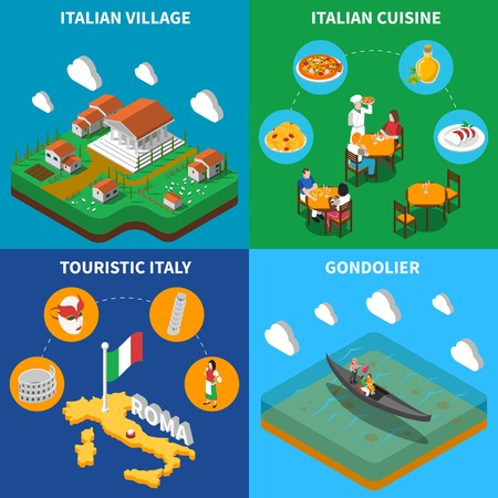 gondolier: Italian top touristic attractions 4 isometric icons square poster with countryside food and gondolier abstract isolated vector illustration