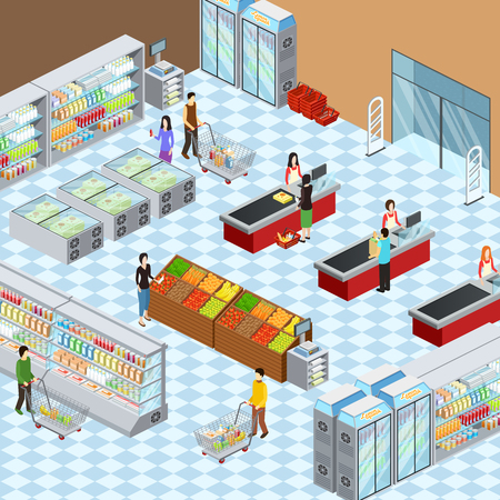 tienda de comestibles supermercado composición isométrica de diseño de interiores con los clientes en bastidores de visualización y el pago de ilustración vectorial abstracto