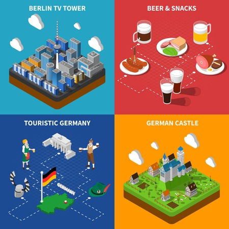 german culture: German culture for tourists 4 isometric icons banner with beer snacks and castle abstract isolated vector illustration Illustration