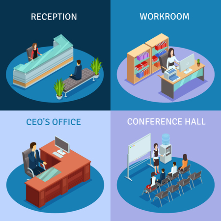 ceo: Modern workplace 4 icons square composition poster with ceo office reception and conference hall isolated vector illustration.