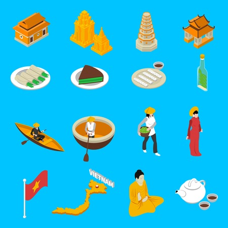 vietnam flag: Vietnam traditional food clothing landmarks map and national cultural symbols isometric icons collection abstract isolated vector illustration Illustration