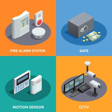 alarm system: Home security 4 isometric icons square with motion sensor fire alarm system and cctv abstract isolated vector illustration