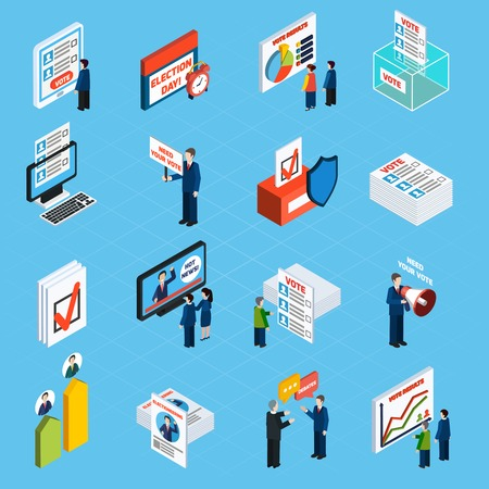 voter: Election campaign and voting isometric icons set with ballot box voter list and people making agitation flat vector illustration Illustration