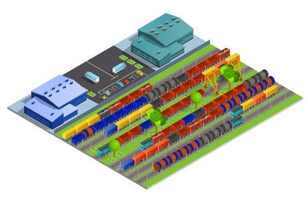 Eisenbahn-Güterbeförderung isometrischen Design-Konzept mit Lagerkonstruktionen und Eisenbahnschienen mit Zisternen Container Kühlschränke flach Vektor-Illustration Standard-Bild - 58671045