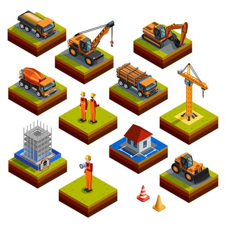 cemento: isométricos de construcción iconos aislados con los trabajadores de la construcción de cascos y uniformes mezclador objeto camión grúa excavadora hormigón y otros vehículos aislados ilustración del vector Vectores