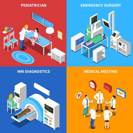 緊急と mri 診断施設 4 等尺性のアイコン分離ベクトル図で病院職員と患者の関係