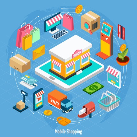 convenience: Mobile shopping isometric concept with related elements on light blue background vector illustration