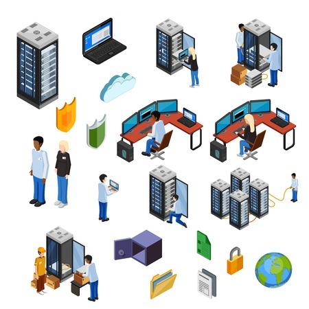 icônes isométrique Datacenter ensemble de spécialistes techniques de sécurité des données de matériel de serveur utilisent la technologie vecteur plat illustration