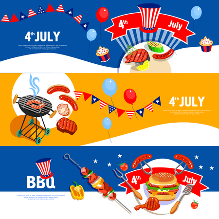long weekend: Independence day july fourth celebration bbq party 3 flat colorful horizontal banners set abstract isolated vector illustration Illustration