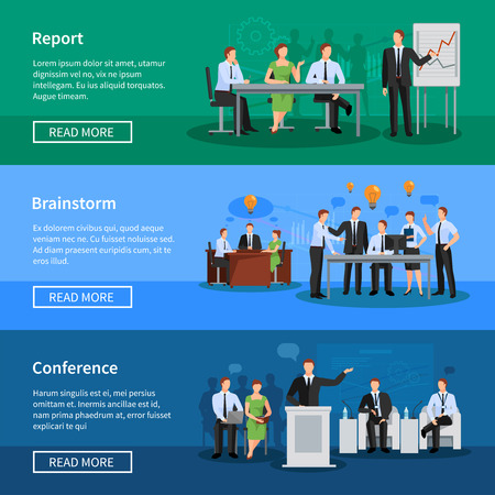 discussion: Flat horizontal banners with vector illustration of group of people having conference and meeting for business collaboration and discussion process Illustration
