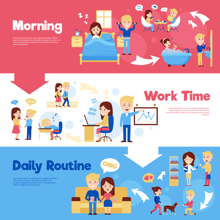 daily life: Scenes of people in daily life morning work time and daily routine cartoon style horizontal banners vector illustration