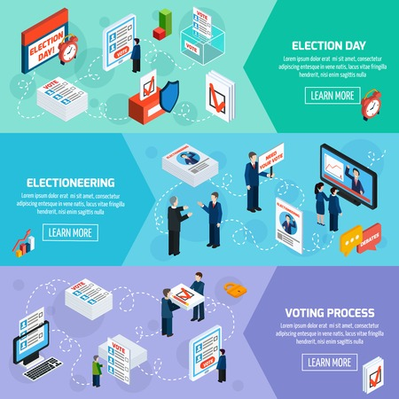 electioneering: Elections and voting isometric horizontal banners with electioneering election day and voting process icons set flat vector illustration
