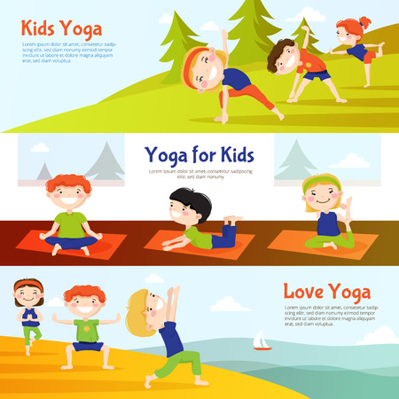 Yoga for kids 3 horizontal banners set with children practicing asana poses outdoor abstract isolated vector illustation 向量圖像