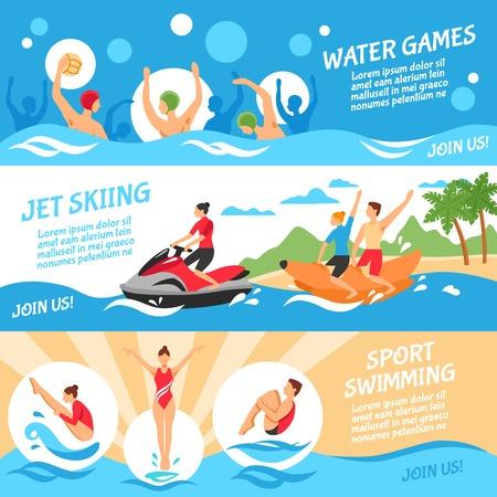 waterpolo: Water Sport Concept plana. Water Sport banners horizontales. Ilustración vectorial de agua del deporte. Deporte acuático aislado Conjunto. Símbolos diseño del deporte acuático.
