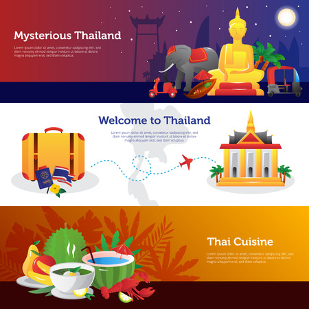 thailand culture: THailand for travelers webpage design with information on transportation thai cuisine and sightseeing abstract isolated vector illustration Illustration