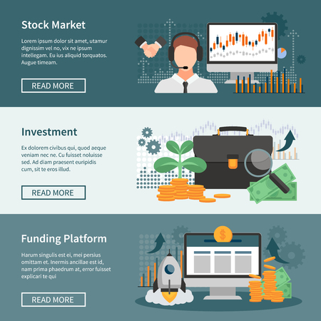 Investment and trading horizontal banners set with stock market funding platform and financial management design compositions flat vector illustration
