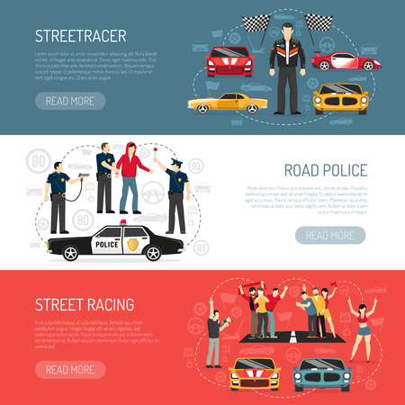 traffic violation: Street racing flat horizontal banners set with information about participants and road police abstract isolated vector illustration Illustration