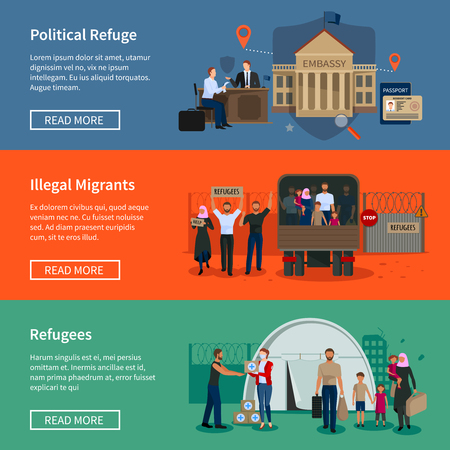 escaped: Stateless refugees flat horizontal banners set with illegal muslim migrants escaped from war and political migrants seeking asylum vector illustration