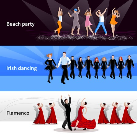 beach party people: Horizontal dancing on stage and at beach party people on colorful backgrounds flat isolated vector illustration Illustration