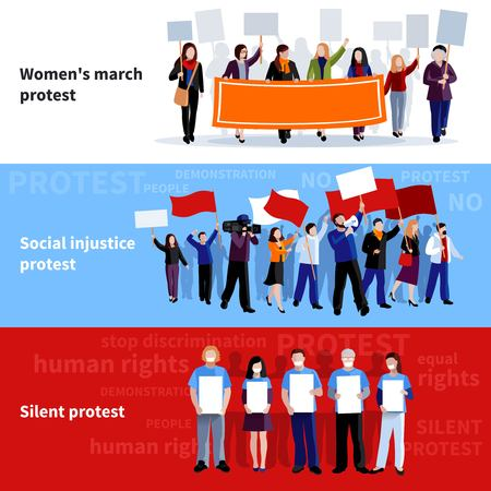 injustice: Demonstration womens march social injustice and silent protest people with megaphones placards and flags flat banners isolated vector illustration