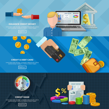 borrower: Credit rating horizontal banners with credit scores diagram credit report issuance credit money banking card decorative elements flat vector illustration Illustration