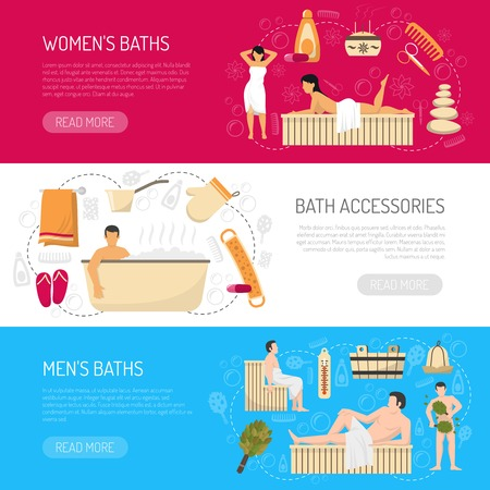 bath house: Public bath house sauna website page 3 horizontal banners with accessories and information abstract isolated vector illustration