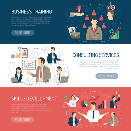 courses: Business skill development training and consulting services website design 3 horizontal flat banners abstract isolated vector illustration Illustration