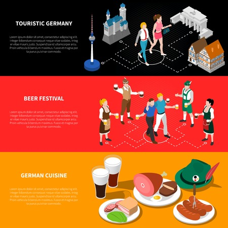 tirol: Touristic germany isometric national flag banners background poster with sightseeing beer festival and cuisine abstract vector illustration
