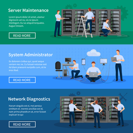 datacenter: IT administrator horizontal banners with network engineers working in server room for hardware diagnostic flat vector illustration