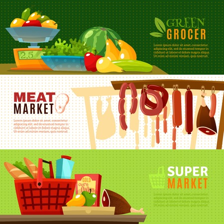 greengrocery: Market horizontal banners set with greengrocery and supermarket cartoon isolated vector illustration Illustration