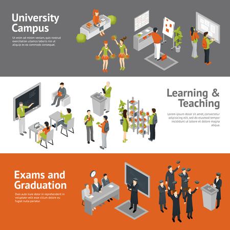 キャンパスの試験と人生を渡すことを指導の学習過程を描いた水平大学大学等尺性バナー分離ベクトル図