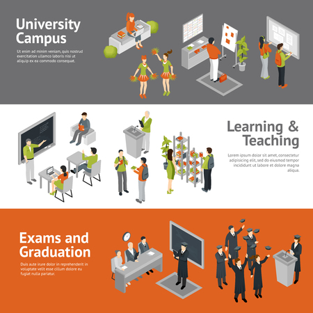 university campus: Horizontal college university isometric banners depicting process of learning teaching passing exams and life in campus isolated vector illustration