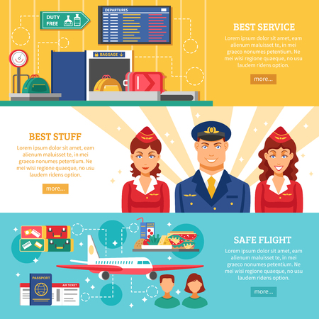 set going: Three horizontal colored airport banner set with titles best service best stuff and safe flight vector illustration